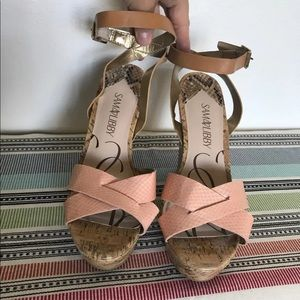 Sam & Libby open toe wedge sandals size 8